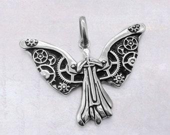 Stainless Steel Clockwork Guardian Angel with Sword Pendant 316 Grade