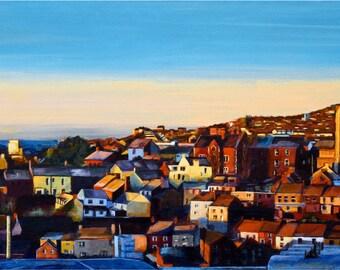 Cork City High Quality Gilcée Print 80x38 cms, Painting by Helen Condon,