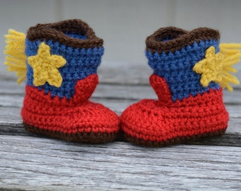 Baby Cowboy Boots, Crocheted Boots, Baby Booties, Baby Gift, Photo Prop, Cowboy