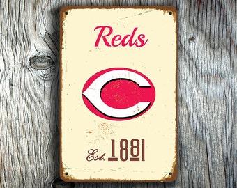 CINCINNATI REDS SIGN, Vintage style Cincinnati Reds Sign, Reds Baseball, Reds Baseball Sign, Vintage Reds, Baseball Gift, Baseball Decor