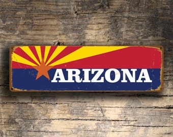 ARIZONA STATE FLAG Sign, Arizona State Flag signs, Vintage style Arizona State Flag Sign,  Arizona Flag Sign, Arizona State Flag, Arizona