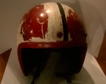1960s or 70s real racing worn motorcycle helmet