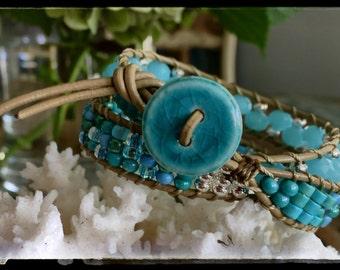 B19 Chan Luu Style Beaded Wrap Bracelet Double Wrap Seascape Aqua