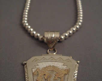 Museum Modernistic Navajo gecko Gold Silver Necklace