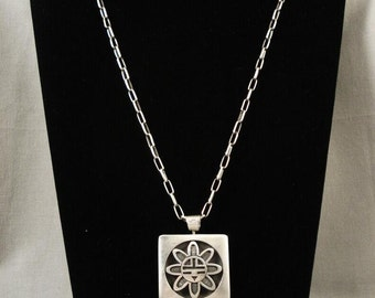 Award Winning Vintage Hopi Melson Harris Heavy Silver Necklace