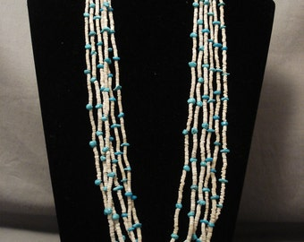 Very Old Santo Domingo Turquoise Shell Necklace