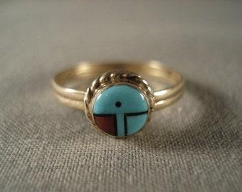 Solid 14k Gold Vintage Zuni Ring