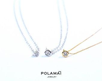 Diamond Necklace . Baby Diamond Solitaire .03 to .07 18k Gold . Bezel Set Diamond Pendant . Yellow White Rose Gold . Minimal Necklace