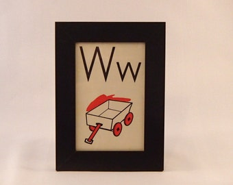 W is for Wagon framed vintage flash card