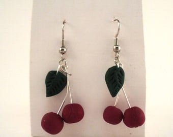 Handcrafted Cherry Dangle Style Earrings