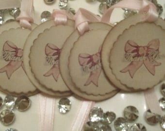 Bow Tags, It's a Girl Tags, Bridesmaid Tags, Thank You Tags