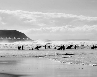 "Silhouette Surfers - Photographic Image 20"" x 14"""