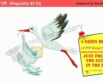 Stork carrying baby Maternity Pregnancy Machine embroidery applique design,Embroidery Kids Baby,filled stitch,INSTANT DOWNLOAD,4x4 5x7 6x10