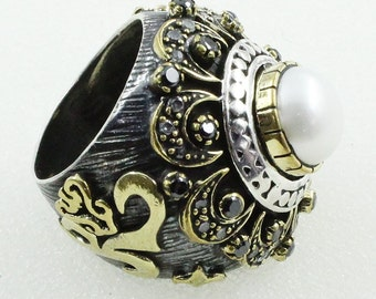 Pearl Stone Oxidised 925 Sterling Silver Ring With Brass