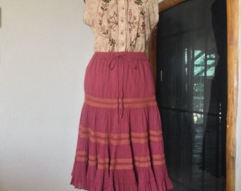 Maroon  Vintage Midi Skirt, Midi Boho Skirt, Gypsies Skirt, Vintage Skirt, Cotton Skirt.  (Sk24)