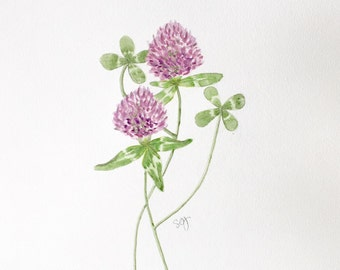 "PRINT of  original watercolor painting, titled: ""Irish Clovers"" by Shaner Johnson"