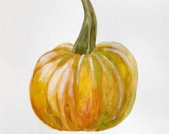"PRINT of  original watercolor painting, titled: ""Fall Pumpkin"" by Shaner Johnson"