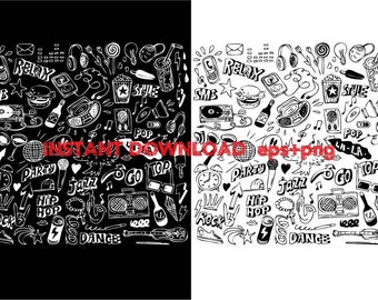 types of music Clip Art,T shirt, iron on , sticker, Vectors files ,Personal Use
