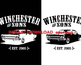 Winchester & son Impala clipart ,T shirt, iron on , sticker, Vectors files ,Personal Use