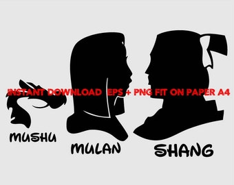 Mulan Shang Mushu, Clip Art,T shirt, iron on, sticker, Vectors files,couple clipart