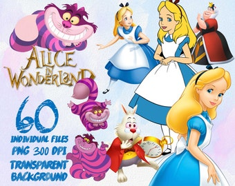 Alice in Wonderland - Clip Art - PNG - transparent - 300dpi - party - printable