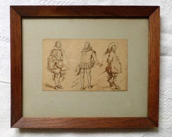 Antique Ink drawing of three gentlemen in period custom