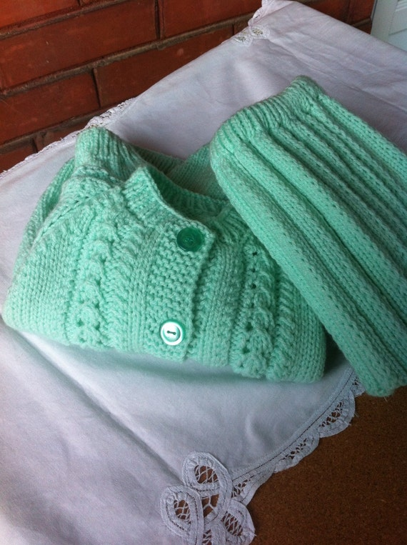 baby clothes 2 pc hand knitted sweater and skirt soft mint