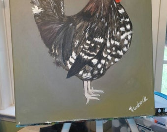 "Country Chicken-ooak acrylic painting on 16x20"" canvas"