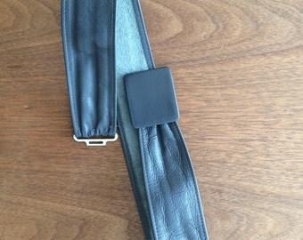 80's style grey leather adjustable belt