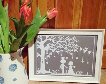 Wedding Framed Papercut