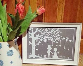 Wedding Papercut - framed