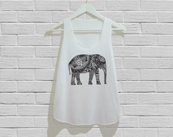Elephant Abstract Art Tank Top Women Tank Top Tunic TShirt T Shirt Singlet - Size S M L