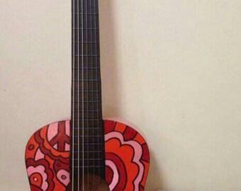 Handpainted Acoustic Guitar- playable