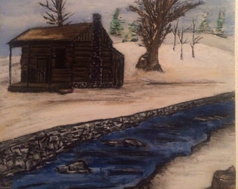 Winter Cabin Plaque/ Hand Carved and Painted