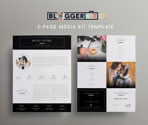 digital press kit template free - two page media kit template press kit template by bloggerkitco