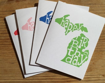 Michigan Birthday Card. Mitten Card.  Happy Birthday.  Made in Michigan.