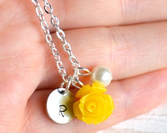 Bright yellow bridesmaid necklace with rose, Personalized bridesmaid jewelry with initials, Yellow Flower girls jewelry,Bridesmaids gifts