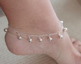 Silver bells bracelet / bells anklet bracelet with bells anklet with bells Christmas jewelry Christmas bells gift anklet baptism jewelry