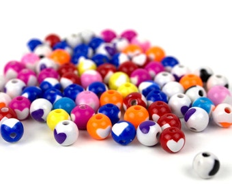 150 Electric Round Hearts Beads