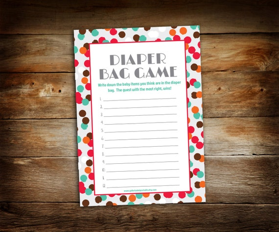 baby shower game baby shower diaper bag game printable guess what