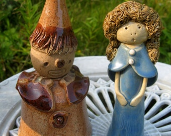 2 Vintage handmade clay sculpture ceramic figurines, spaguetti Hair
