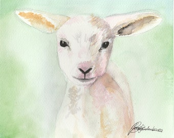 little lamb original watercolor painting, lammetje aquarel schilderij, watercolour, waterverf, sheep, schaap, baby animal