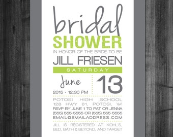 Modern, Lime Green and Grey Bridal Shower Invitation - DIY Invitation