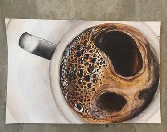 Watercolor Coffee Painting Print