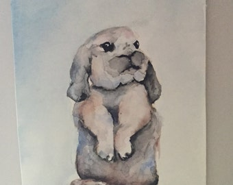 Watercolor Bunny Painting