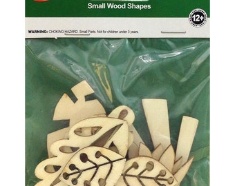 10 Pack Foilage Assorted Wood Shapes by Lara's Crafts