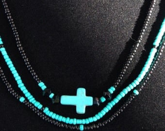 Beaded Turquoise and Black Cross Multistrand Necklace