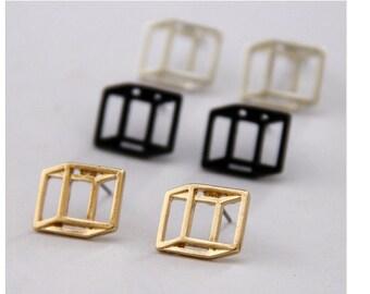 3D Cube Stud Earrings