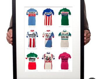 Nine iconic Italian vintage cycling jerseys print