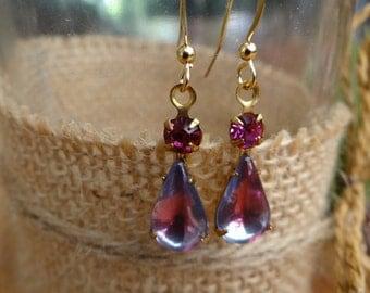 Fushia Pink Rhinestone and Glass Earrings – ERU084